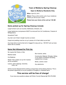 Items picked up for Spring Cleanup include
