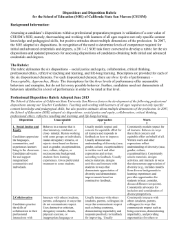 Professional Disposition Rubric