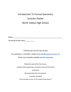 Introduction To Formal Geometry Summer Packet North Valleys