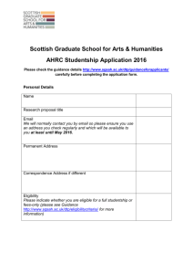 AHRC DTP Scotland application form 2016
