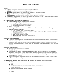 Allergy Study Guide