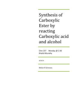 Synthesis of Carboxylic Ester by reacting
