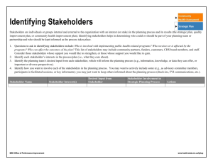 Stakeholder Identification - Strategic Plan