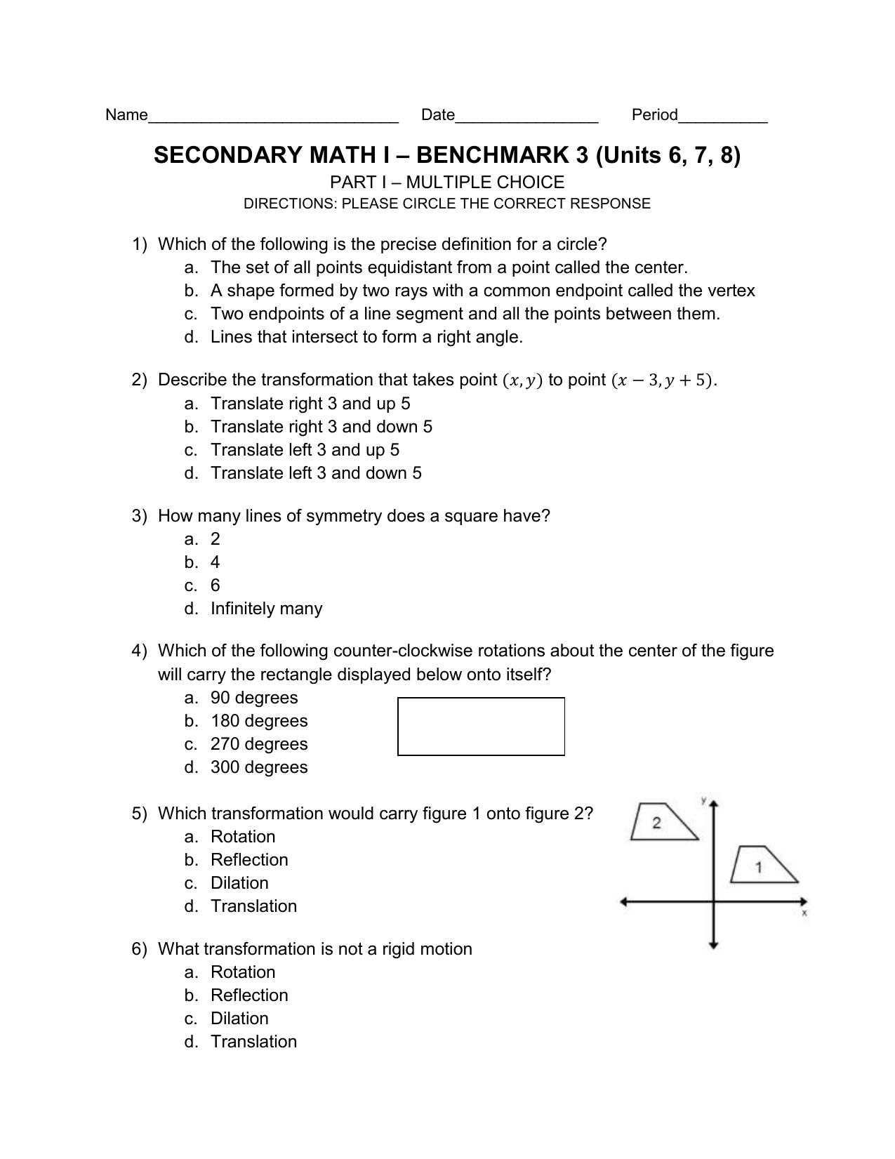 SECONDARY MATH I – BENCHMARK 3 (Units 6, 7, 8)