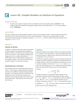 Algebra II Module 1, Topic D, Lesson 38: Teacher Version