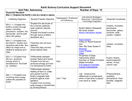 Earth Science Curriculum Support Document - GCS9