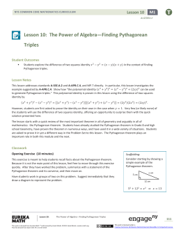 Lesson 10: The Power of Algebra—Finding