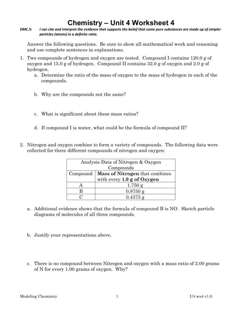 Worksheet 4 – Law of Definite and Multiple Proportions Worksheet