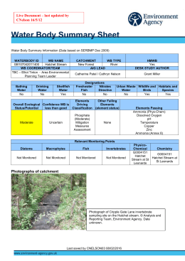 Water Body Summary Sheet - Catchment Change Network