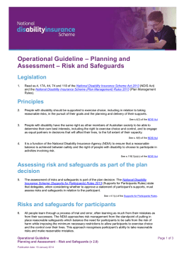 Planning and Assessment - Risk and Safeguards
