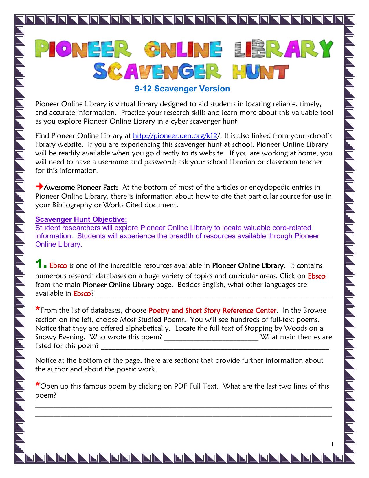 Scavenger Hunt - Pioneer Library
