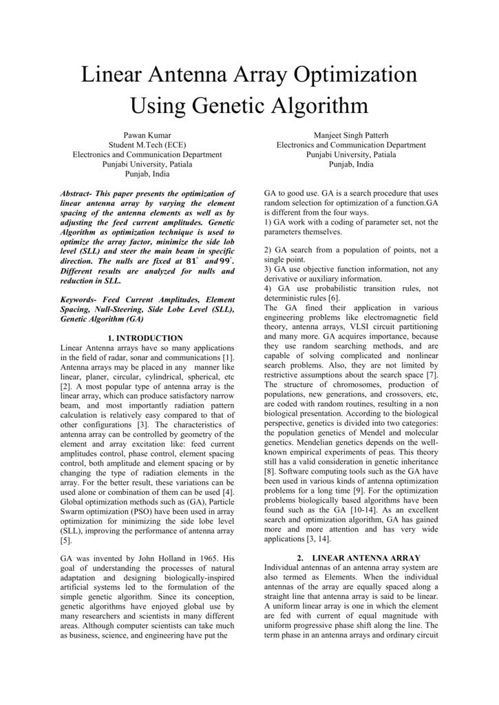 Linear Antenna Array Optimization Using Genetic Algorithm Pawan