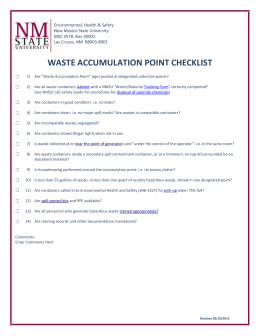 Waste Accumulation Point Checklist - Safety at NMSU