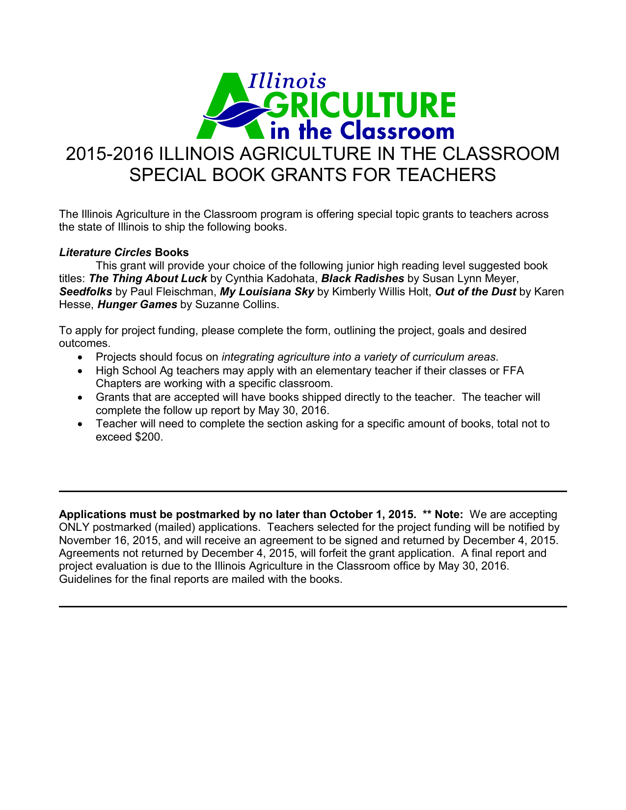 Literature Circles Books - Illinois Ag in the Classroom