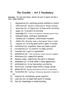 The Crucible - Act I Vocabulary