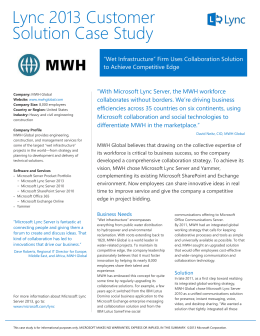 MWH Global Case Study - Customer Stories