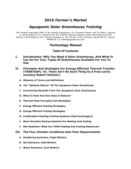 Aquaponic Solar Greenhouse Training