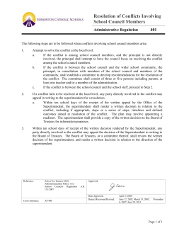 Resolution of Conflicts Involving School Council Members Regulation