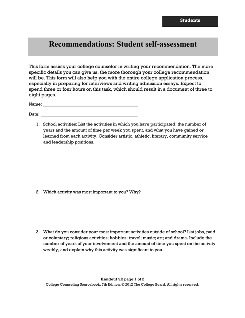 Recommendations: Student self-assessment