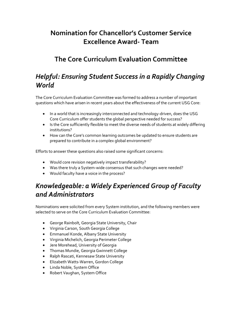 Team The Core Curriculum Evaluation Committee Helpful