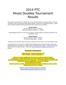 2014 PTC Mixed Doubles Tournament Results We couldn`t have