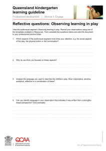 Reflective questions: Observing learning in play