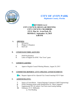091415 revised agenda - The City of Avon Park