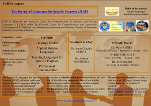languages - The Journal of Languages for Specific Purposes