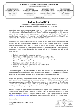 Biology:Applied 2013 - Burnham House Veterinary Surgery