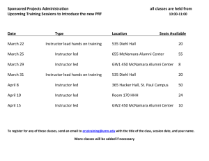 PRF Training Schedule - Sponsored Projects Administration