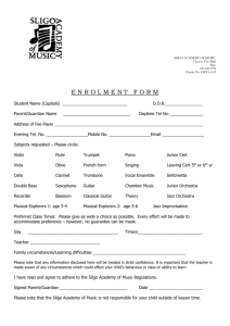 Enrolment Form - Sligo Academy of Music
