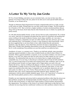 A Letter To My Vet by Jan Grebe - French Bulldog Club of Puget