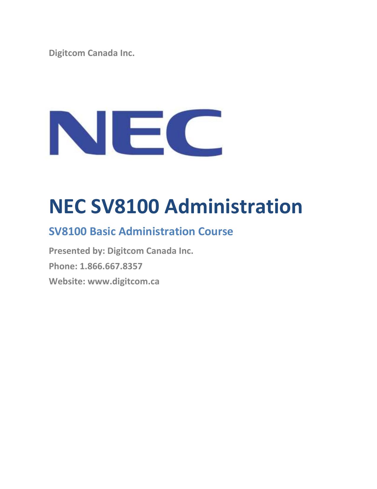 NEC SV8100 Administration