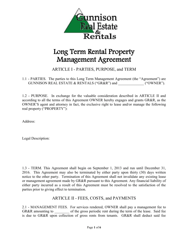 Long Term Rental Property Management Agreement