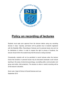 Policy on recording of lectures