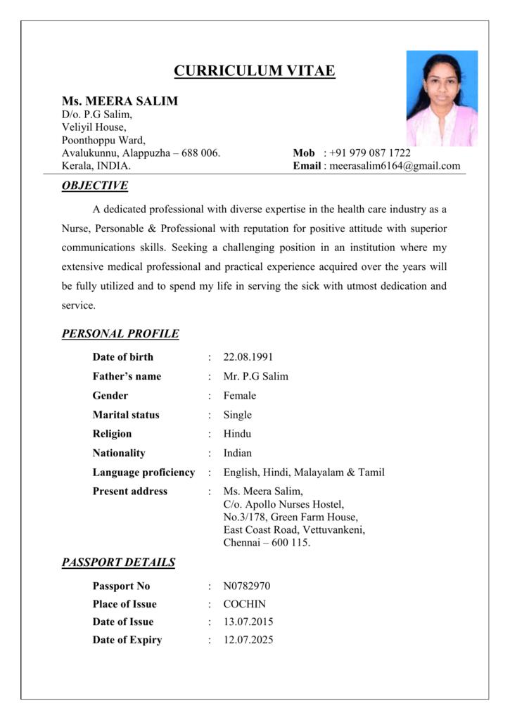 Curriculum Vitae Ms Meera Salim