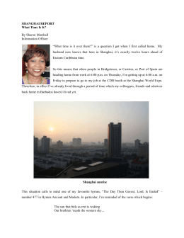 SHANGHAI REPORT What Time Is It? By Sharon Marshall