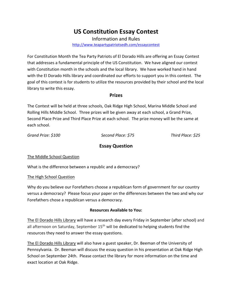 us constitution essay contest   tea party patriots of el dorado hills