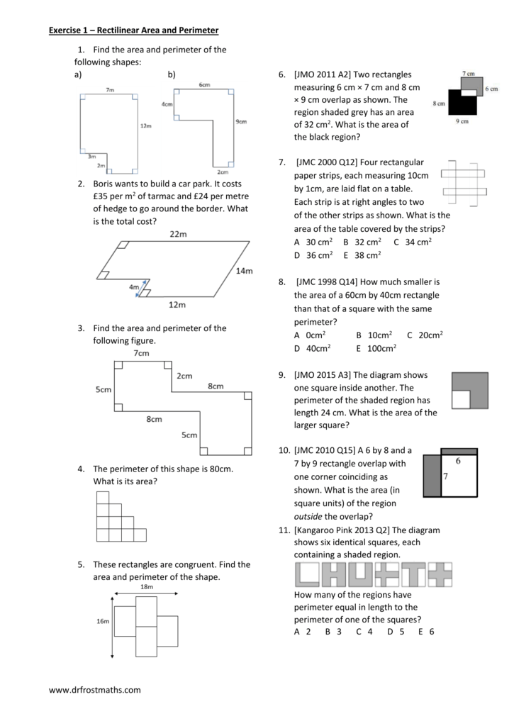 Worksheet Year 7 Area Perimeter exercises – Find the Area of the Shaded Region Worksheet