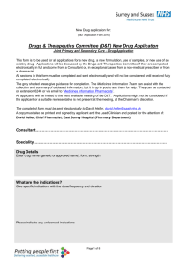 Drugs & Therapeutics Committee (D&T) New Drug Application