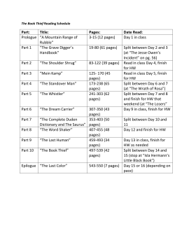 Book Thief Reading Schedule