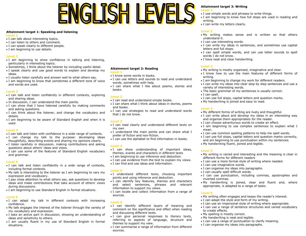 Literacy Level Descriptions