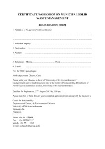 Registration Form - Center for Sustainability