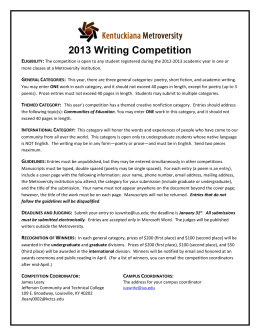 2013 Metroversity Writing Contest Information