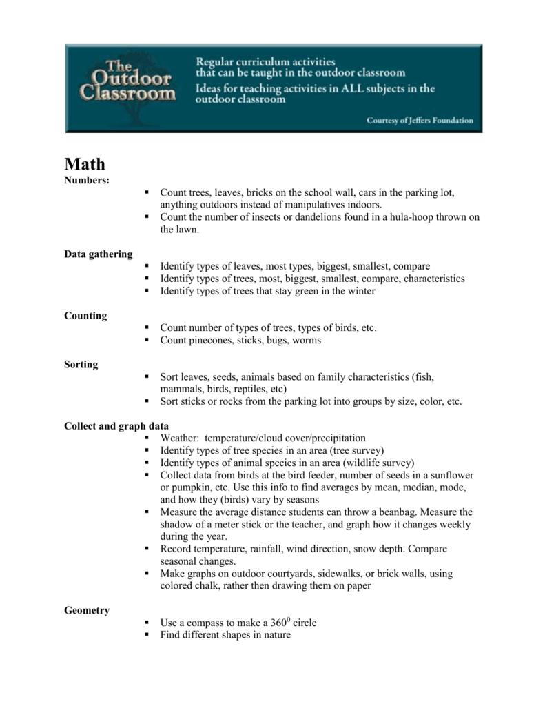 Outdoor Classroom Curriculum Ideas