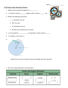 Ch 8 Study Guide: Rotational Motion