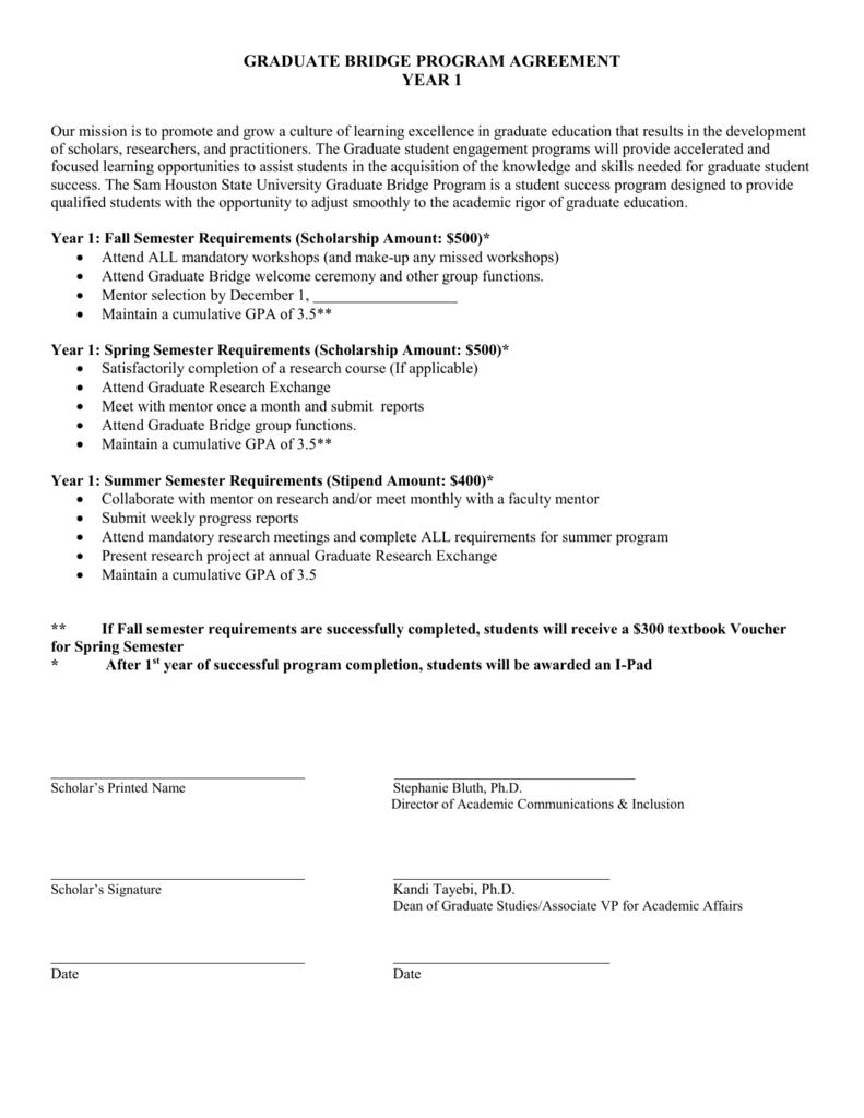 Program Contract Sam Houston State University