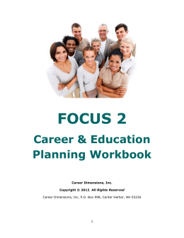 FOCUS 2 Career & Education Planning Workbook
