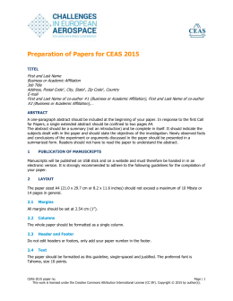 Preparation of Papers for CEAS 2015