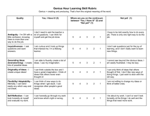 Genius Hour Learning Skill Rubric